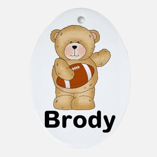 Brody's Football Bear Oval Ornament