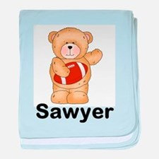 Sawyer's Football Bear baby blanket