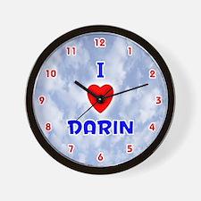 I Love Darin (Red/Bl) Valentine Wall Clock