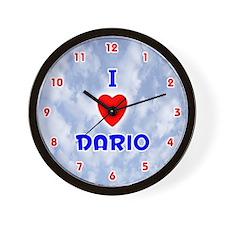 I Love Dario (Red/Bl) Valentine Wall Clock