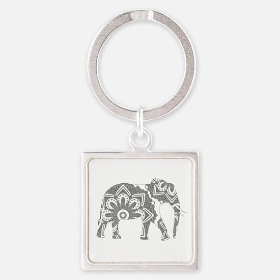 Mandala Elephant Grey Keychains