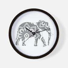 Mandala Elephant Grey Wall Clock