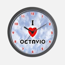 I Love Octavio (Red/Blk) Valentine Wall Clock