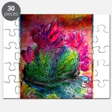 Colorful cactus, southwest art Puzzle