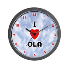 I Love Ola (Red/Blk) Valentine Wall Clock