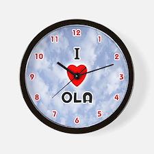 I Love Ola (Red/Blk) Valentine Wall Clock