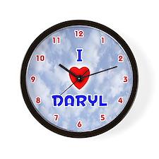 I Love Daryl (Red/Bl) Valentine Wall Clock