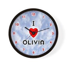 I Love Olivia (Red/Blk) Valentine Wall Clock