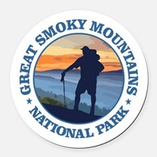 Great Smoky Mountains Round Car Magnet