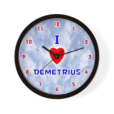 I Love Demetrius (Red/Bl) Valentine Wall Clock