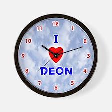 I Love Deon (Red/Bl) Valentine Wall Clock