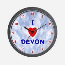 I Love Devon (Red/Bl) Valentine Wall Clock