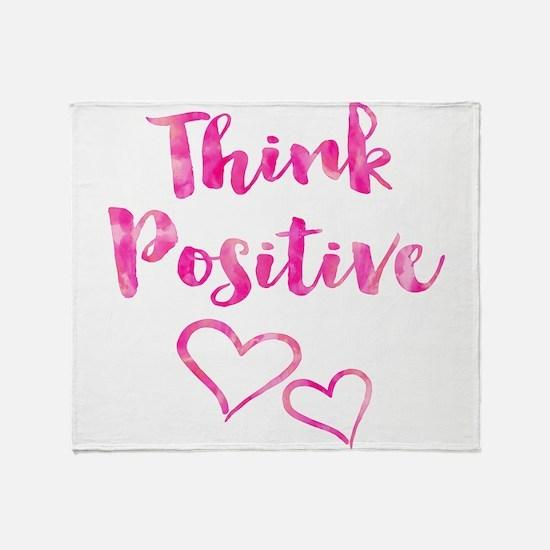 Think Positive Watercolor Inspiratio Throw Blanket