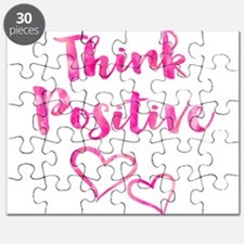 Think Positive Watercolor Inspirational Quo Puzzle