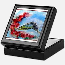 Hummingbird, red flowers, art Keepsake Box