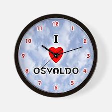 I Love Osvaldo (Red/Blk) Valentine Wall Clock