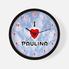 I Love Paulina (Red/Blk) Valentine Wall Clock