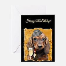 40th Birthday Dachshund Greeting Cards