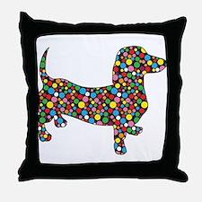 Polka Dot Dachshunds Throw Pillow