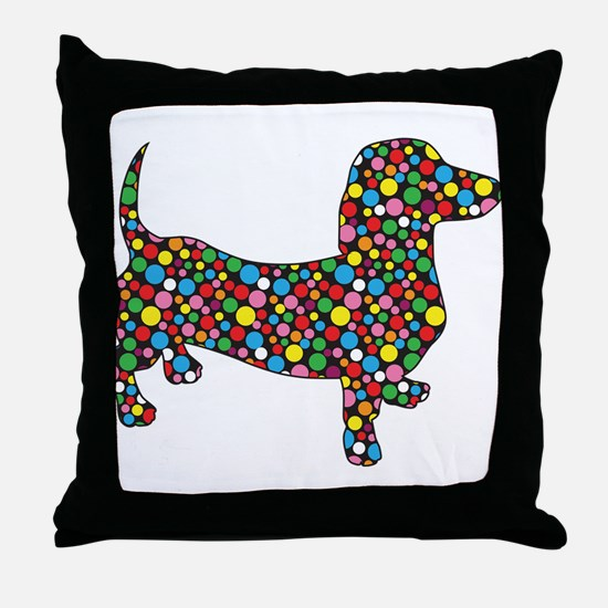 Polka Dot Dachshunds Throw Pillow