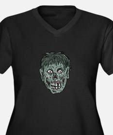Zombie Skull Head Drawing Plus Size T-Shirt