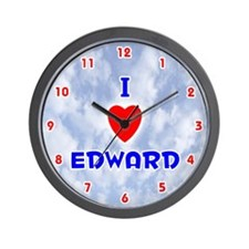 I Love Edward (Red/Bl) Valentine Wall Clock