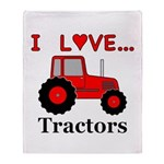 I Love Red Tractors Throw Blanket
