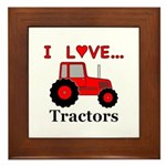I Love Red Tractors Framed Tile