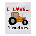 I Love Tractors Throw Blanket