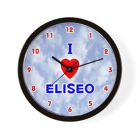 I Love Eliseo (Red/Bl) Valentine Wall Clock