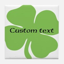 Custom St. Patrick's four leaf clover Tile Coaster