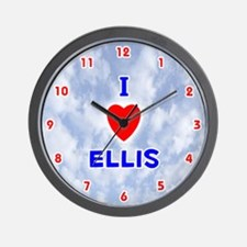 I Love Ellis (Red/Bl) Valentine Wall Clock