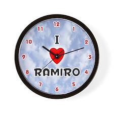 I Love Ramiro (Red/Blk) Valentine Wall Clock