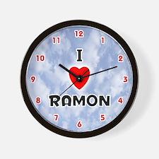 I Love Ramon (Red/Blk) Valentine Wall Clock