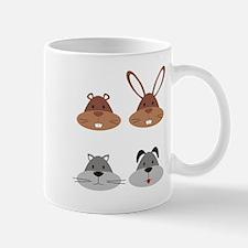 Four Cartoon Pet Animals Mugs