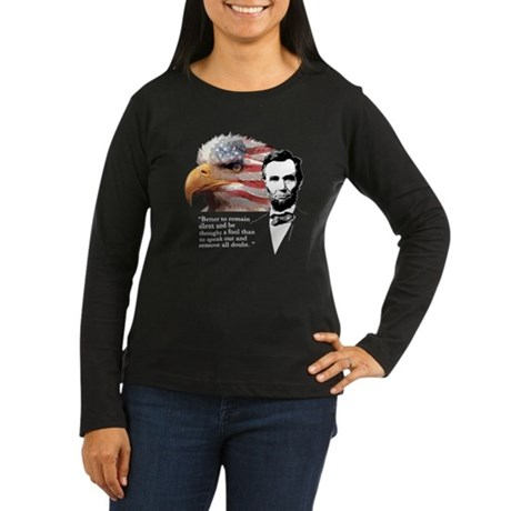 Abraham Lincoln Quote 3 Women's Long Sleeve Dark T