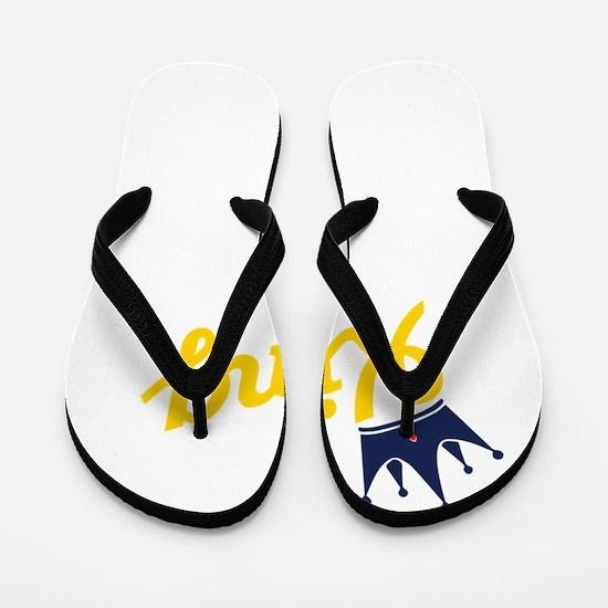 king and quen couple Flip Flops