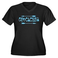 Geocacher Arrow Text Women's Plus Size V-Neck Dark