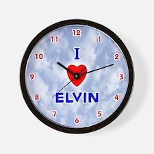 I Love Elvin (Red/Bl) Valentine Wall Clock