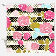 Pink Black Flower Horizontal Stripe Shower Curtain