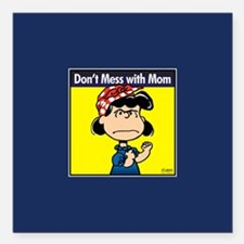 "Peanuts Don't Mess With Square Car Magnet 3"" x 3"""