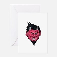 Demon Horns Goatee Head Drawing Greeting Cards