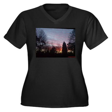 Red Skies Women's Plus Size V-Neck Dark T-Shirt
