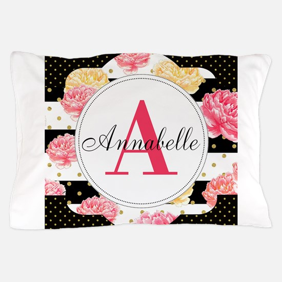 Custom Text Floral Pillow Case