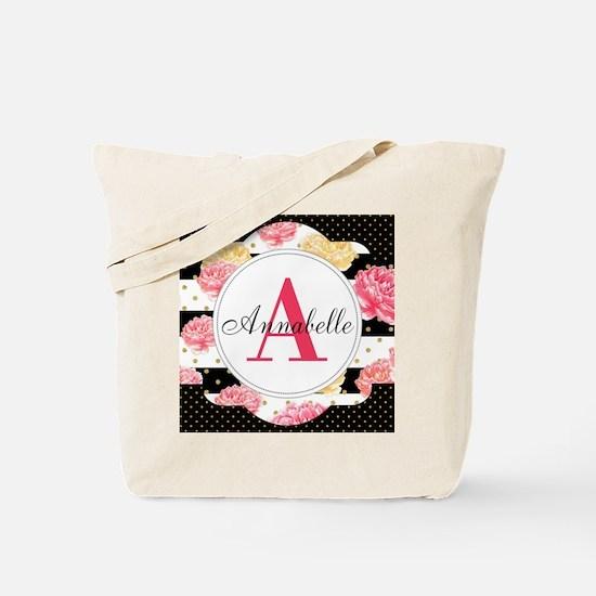 Custom Text Floral Tote Bag