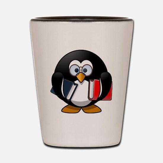 Funny Penguin book Shot Glass