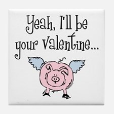Pigs Fly Valentine Tile Coaster