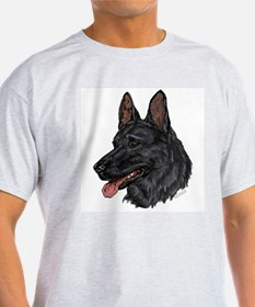 Black German Shepherd face T-Shirt