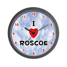 I Love Roscoe (Red/Blk) Valentine Wall Clock