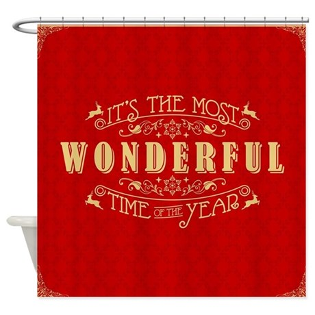 Wonderful Time Red Shower Curtain